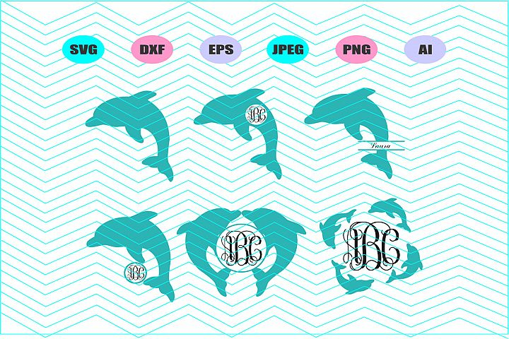 Dolphins Svg,Dolphin monogram Svg Vector File Vinyl Decal
