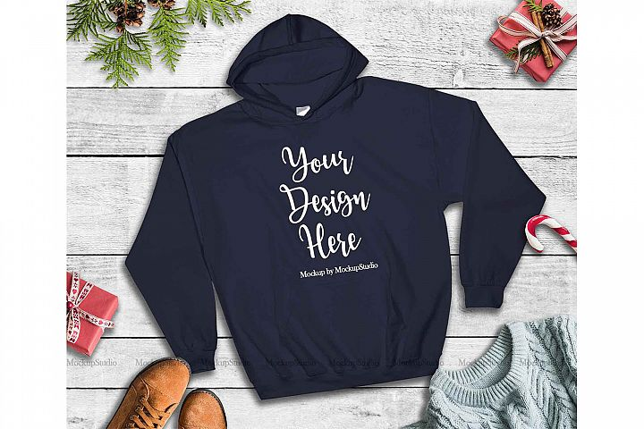 Navy Christmas Hoodie Mockup, Winter Holiday Flat Lay