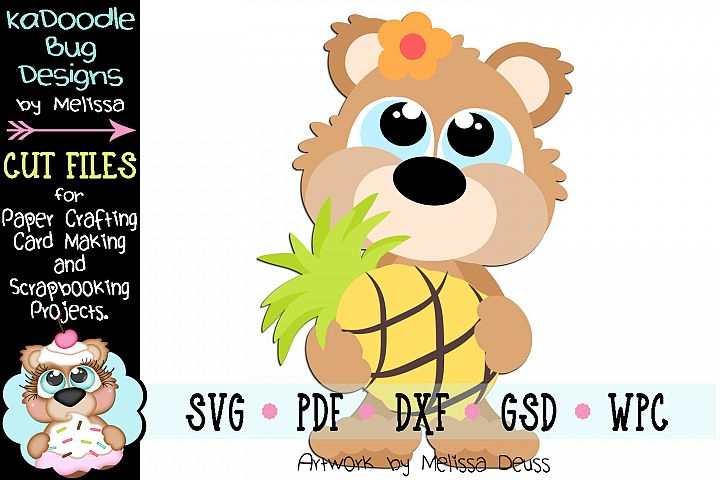 Tropical Pineapple Bear Cut File - SVG PDF DXF GSD WPC