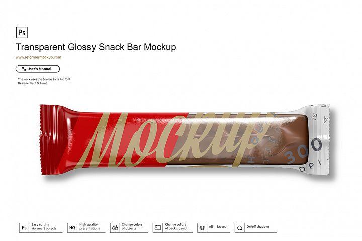 Transparent Glossy Snack Bar Mockup