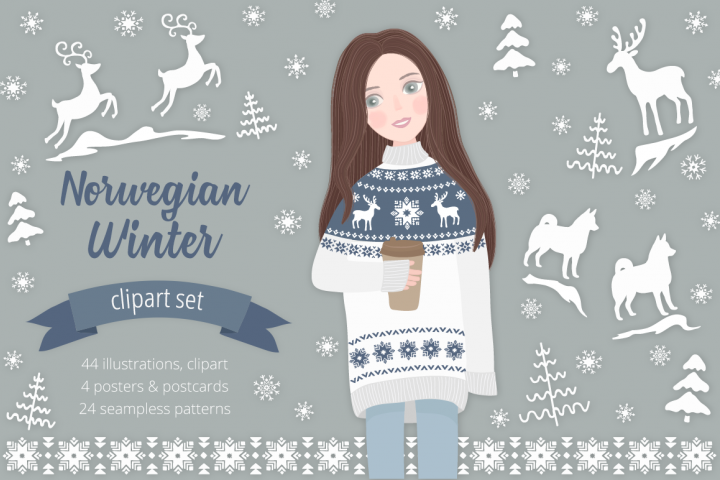Norwegian Winter Illustration Set