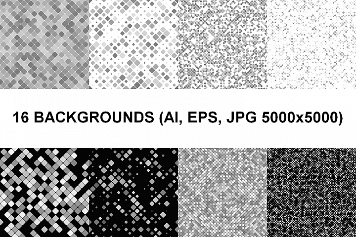 16 Seamless Square Backgrounds AI, EPS, JPG 5000x5000