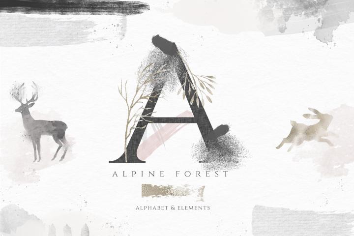 Alpine Forest - Watercolor Design Elements & Alphabet