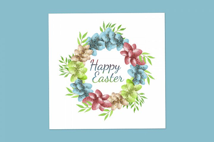 Easter greeting card with easter eggs wreath