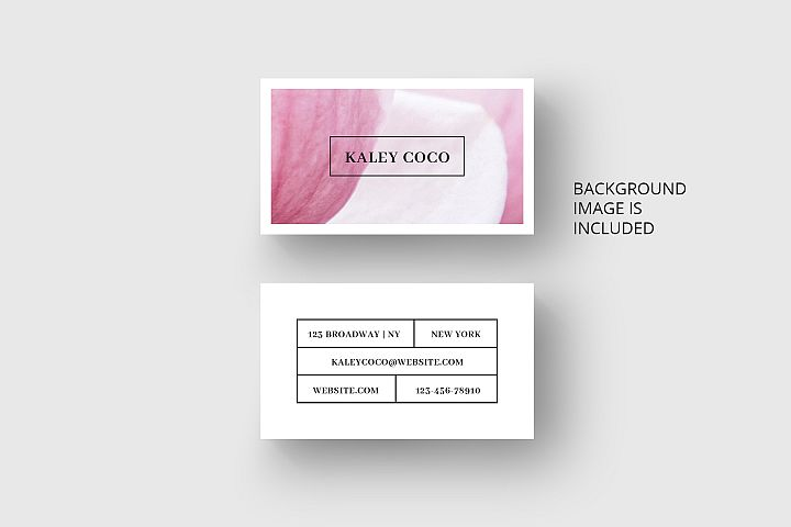 Business card template with pink background