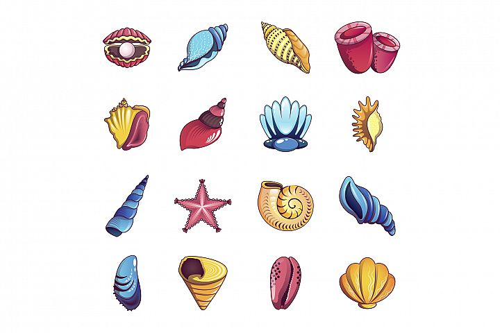 Tropical sea shell icons set, cartoon style