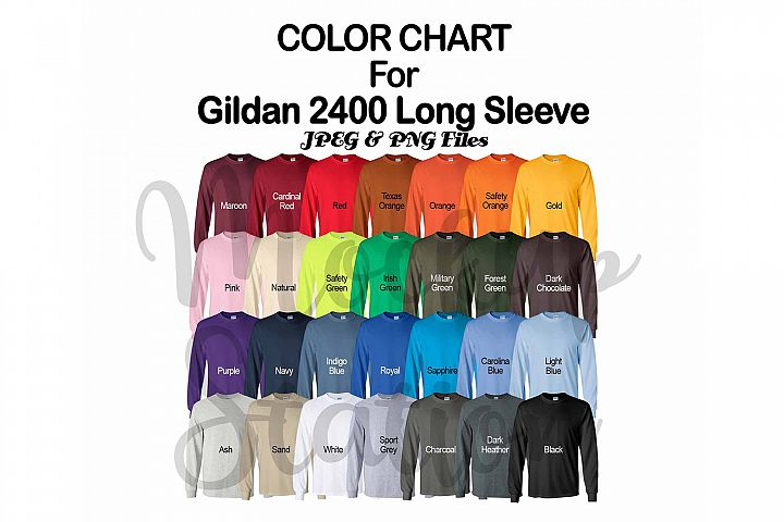 Color Chart for Gildan 2400 Long Sleeve T-shirt