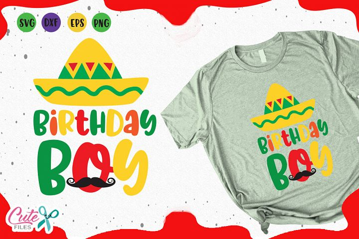 Birthday boy svg, mexican party cuts files for crafter