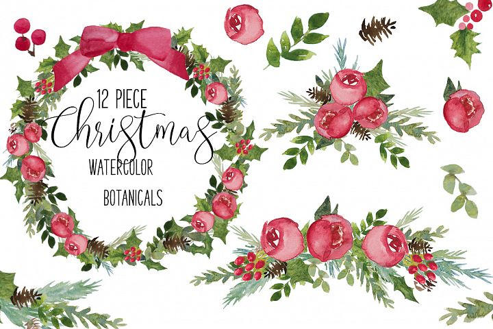 Red & Green Christmas PNG Watercolor Botanical Clip Art