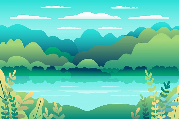 Hills landscape in flat style design. Valley with lake