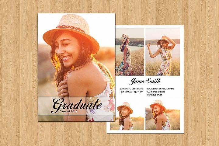 Graduation Announcement and Invitation Card Template