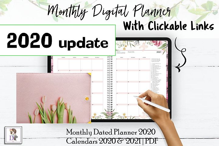 Monthly Dated DIGITAL Planner 2020 Pink PDF CLICKABLE links