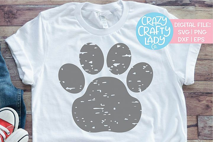 Grunge Paw Print Distressed SVG DXF EPS PNG Cut File