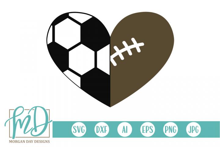 Soccer Football Heart SVG, DXF, AI, EPS, PNG, JPEG