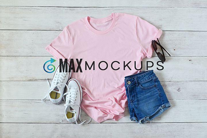 Pink t-shirt Mockup, shorts, sunglasses, summer, flatlay