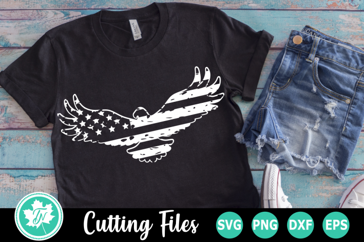 Distressed Eagle Flag - American SVG Cut Files