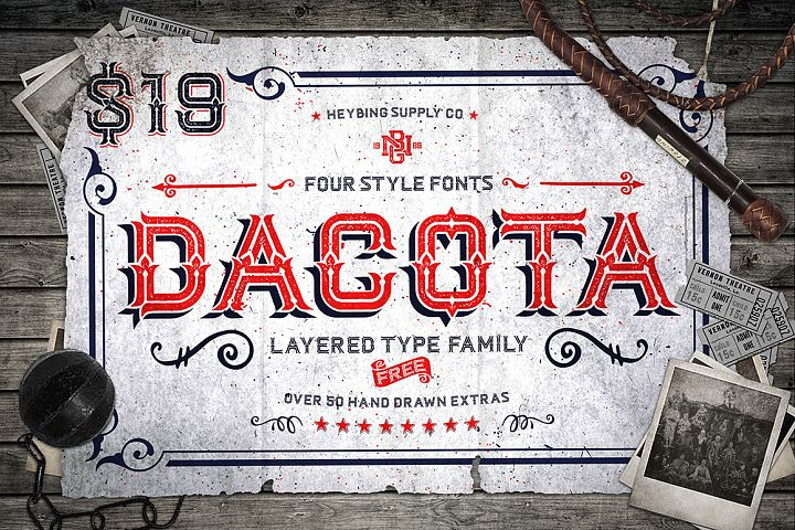 Dacota Layered Typeface & Extras