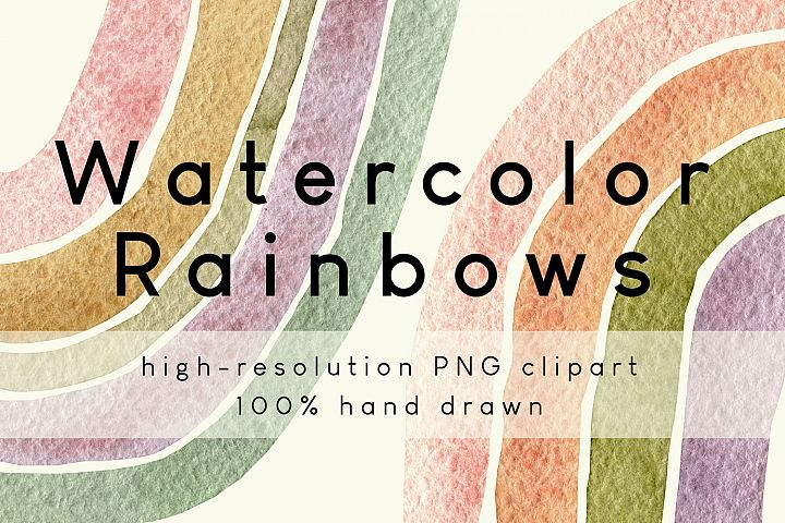 Watercolor Rainbow PNG Clipart Set in Neutral Warm Colors