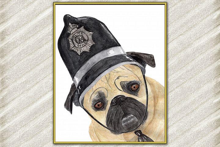 Pug art print , Cute pets prints,Mops poster Funny dog print
