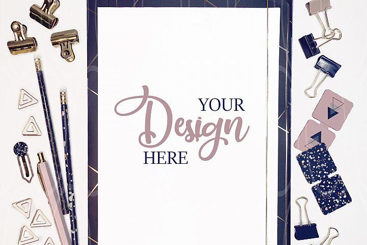 Styled Stock Photo Blank Desktop with Clipboard Mockup