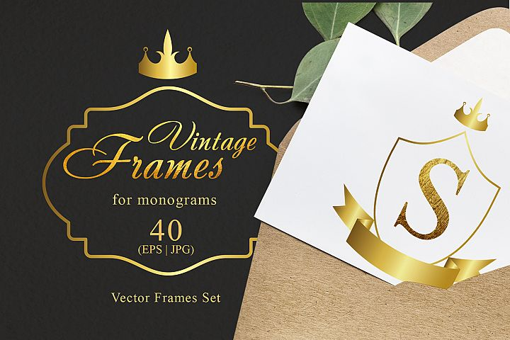 Vintage frames for monograms gold