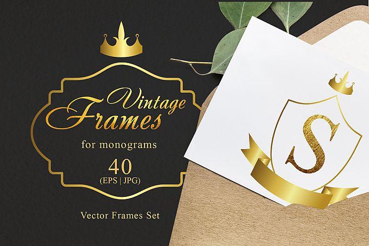 Vintage frames for monograms gold