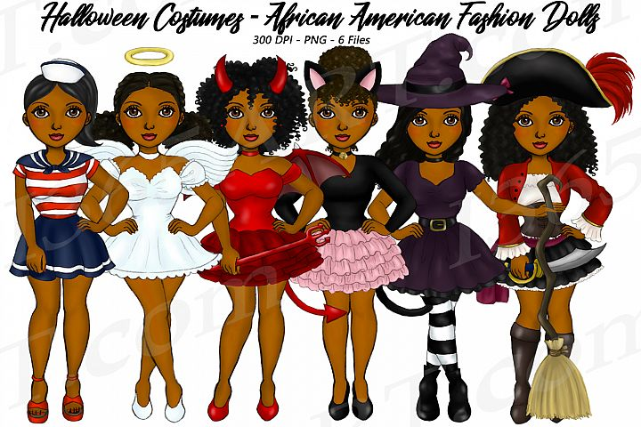 Halloween Girls Fashion Clipart, Costume African Graphics