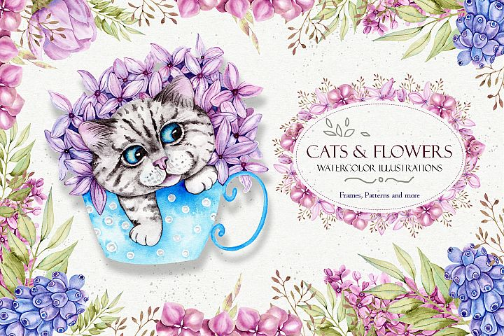 Watercolor Spring CATS and Flowers