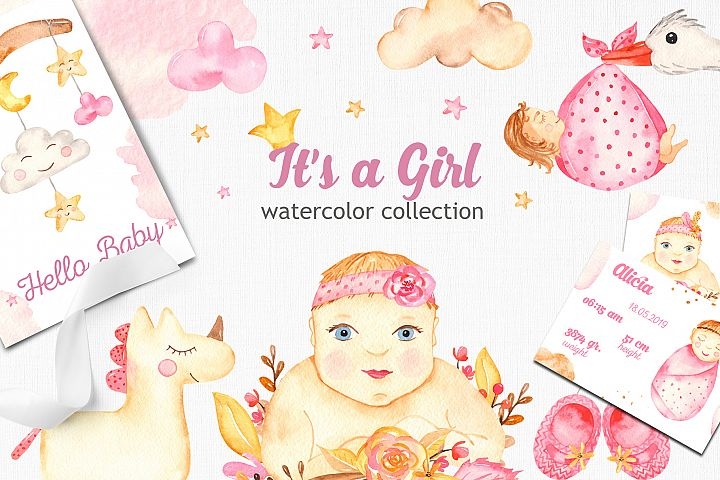 Its a girl watercolor collection clipart Cards and patterns