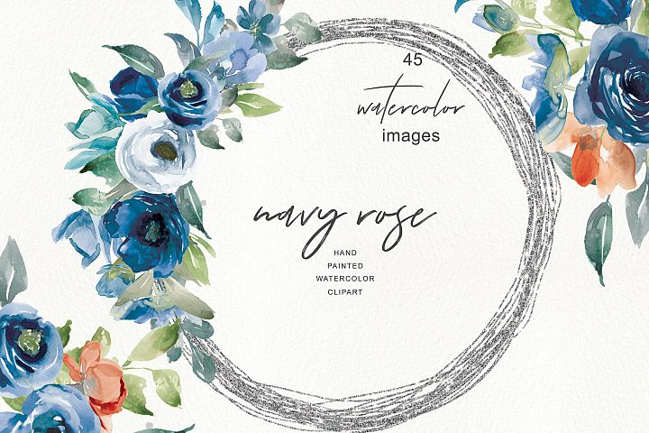 Watercolor Nave Rose Clipart - Bouquets and Elements