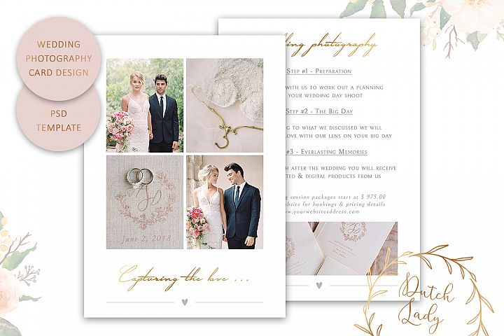 PSD Wedding Photo Session Advertising Card Template #6