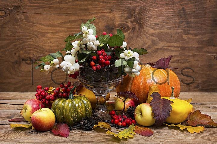 Rustic Thanksgiving centerpiece with snowberry, copy space