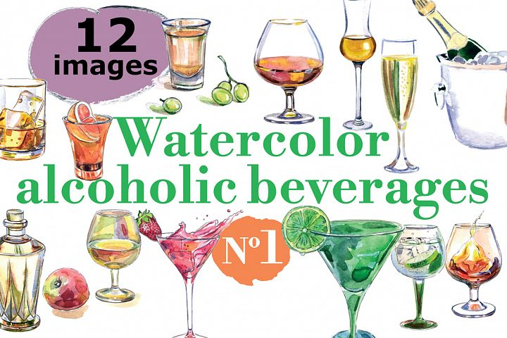 Watercolor alcohol vector set