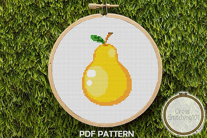 Yellow Pear Cross Stitch Pattern - Instant Download PDF