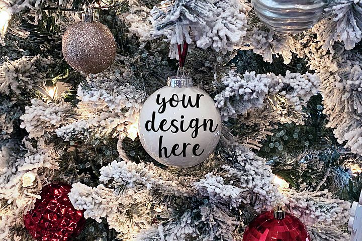 Christmas Ornament on Tree Mockup Mock-Up Styled Photo