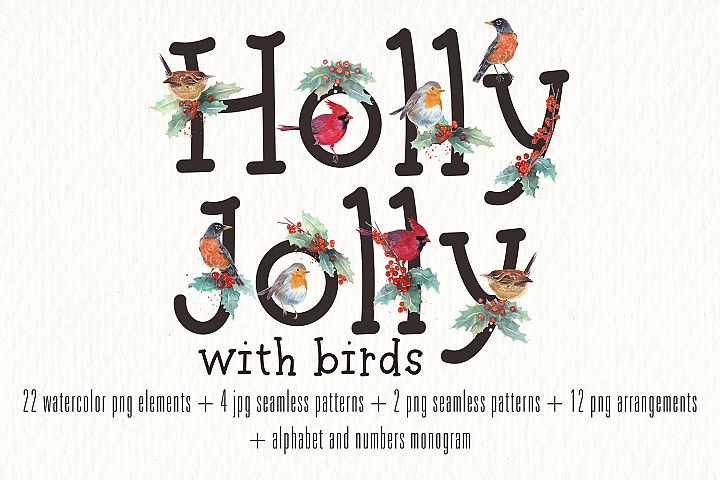 Holly Jolly and birds watercolor clipart