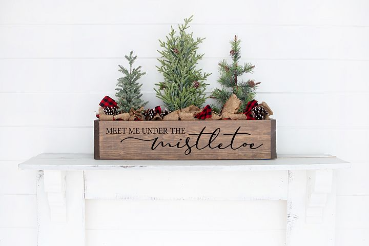 Rustic Christmas Sign SVG - Meet Me Under The Mistletoe