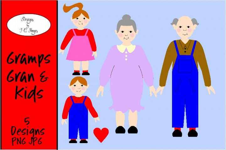 Gran Gramps and Kids Clip Art, Sublimation