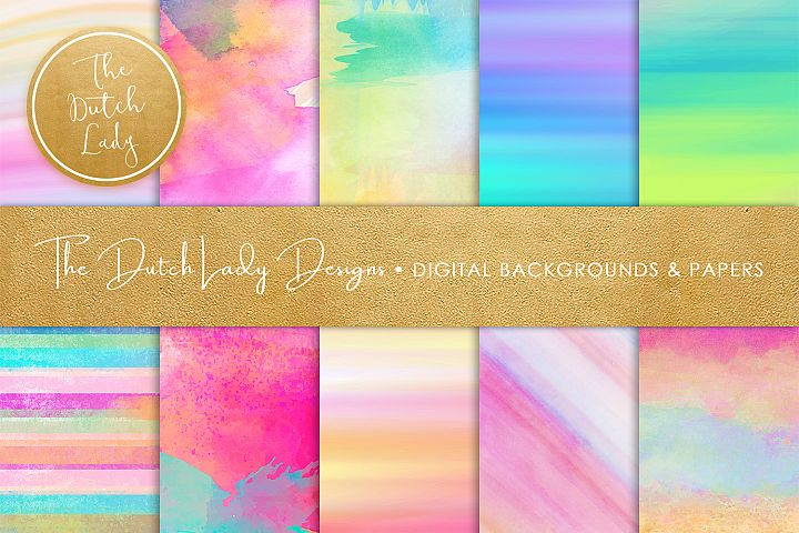 Watercolor Rainbow Stripe and Smear Backgrounds & Papers