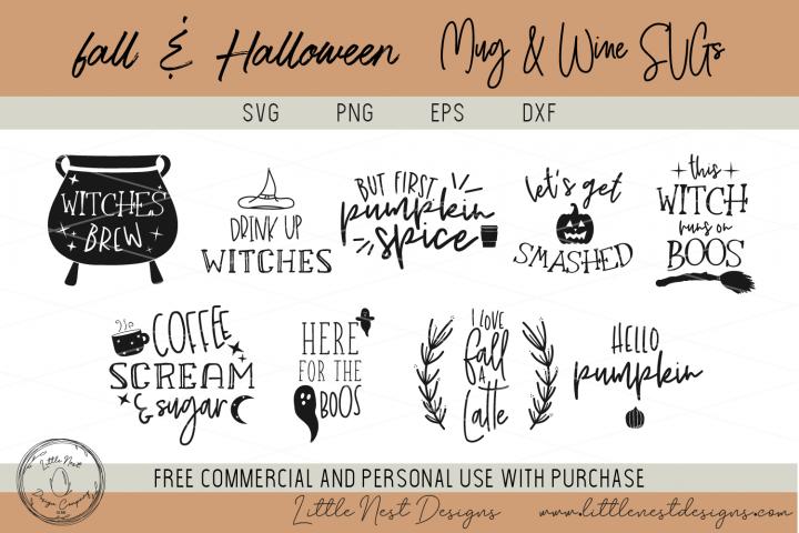 Fall and Halloween Mug and Wine SVG Bundle
