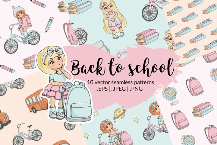 BACK TO SCHOOL Autumn Vector Seamless Pattern Set