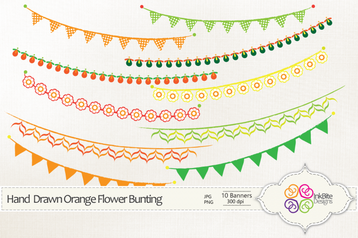 Hand Drawn Orange Flowers Bunting Banners