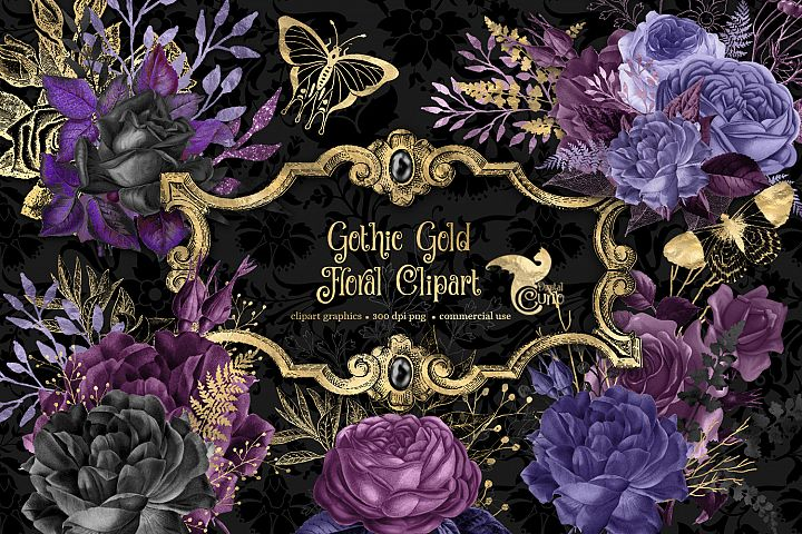 Gothic Gold Floral Clipart