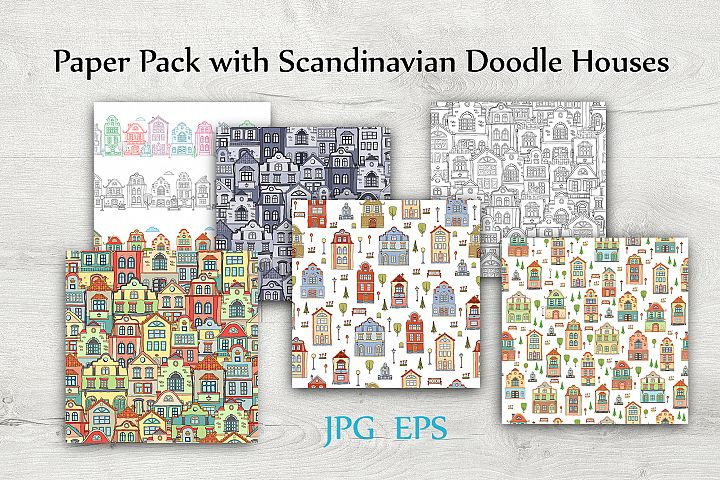 Set of Digital Papers with Scandinaviah Houses. JPG, EPS