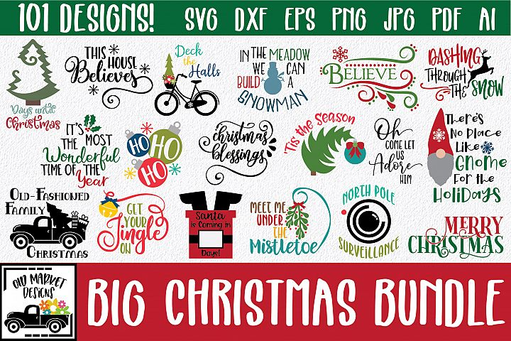 BIG Christmas SVG Bundle with 101 SVG Cut Files