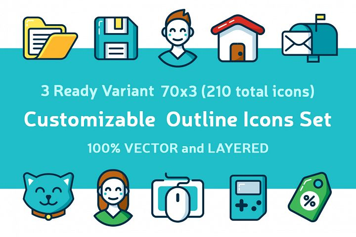 Customizable Outline Icons Set - Free Design of The Week Font