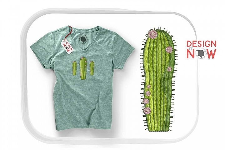 Cactus Botanical Art, Flower Embroidery Design, Plant example image 4