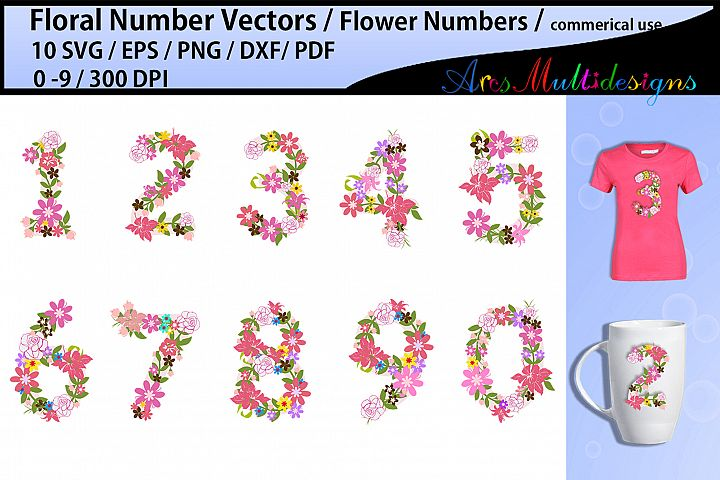 floral numbers clipart / floral numbers svg / flower numbers