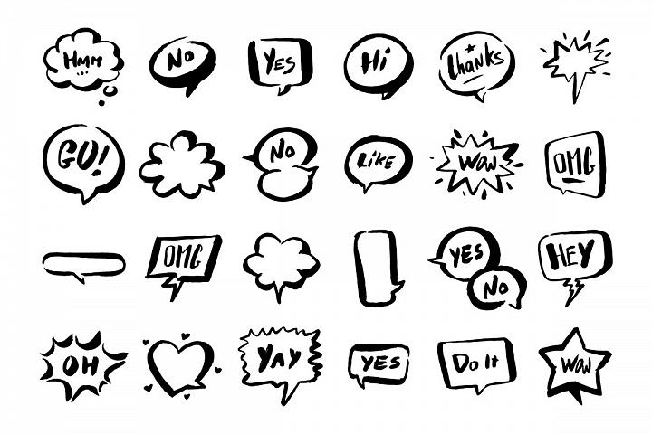Set of speech bubbles.