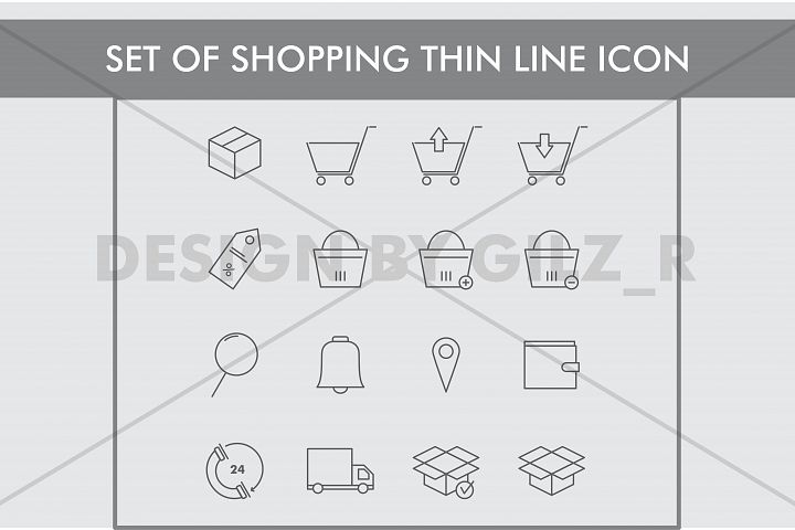 Set of  Shopping Thin Line Icons